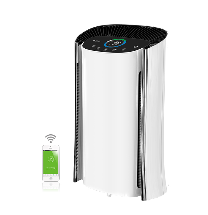 B-C02: 2017 Newest Large Room Air Purifier with WIFI APP and PM2.5 Air Quality,Indoor Temperature,Humidity Indication
